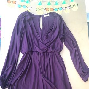 DEEP V PURPOE COCKTAIL DRESS LONG SLEEVE SIZE L